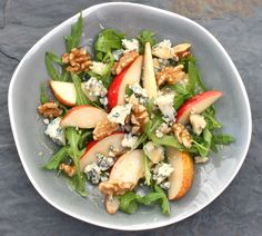 pear, blue cheese and walnut salad with a maple syrup vinaigrette