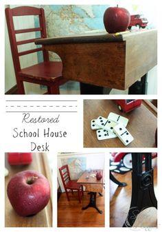 Restored School House Desk - in honor of Conor's first day of Kindergarten.