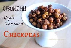 Crunchy Maple Cinnamon Chickpeas (I want to try using the Cinnamon doTERRA EO in these) http://eatplaylovemore.com/2014/02/23/snack-attack-crunchy-maple-cinnamon-chickpeas/