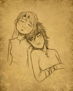 Hiccup and Astrid napping together. Too cute! XD
