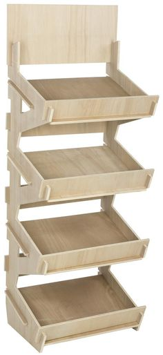 Retail Store Shelf Unit, 4 Shelves with Product Display Bins, (Unfinished Birch Wood) Outdoor Chairs, Outdoor Furniture, Outdoor Decor, Store Fixtures, Storage Shelves, Shelf, Paint Stain, Wooden Flooring, Store Design