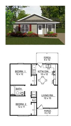 736 SQ FT, 2 bedrooms and 1 bathroom. Very easy to add a garage and mudroom on the left, and a master bathroom and closet off of bedroom Also, walk-out sliding glass door from bedroom 1 to back yard. Small House Floor Plans, Cabin Floor Plans, Floor Plans 2 Story, Little House Plans, Bungalow Floor Plans, Small House Design, House Design Plans, 3d House Plans, Plan Design