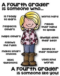 Fourth Grader Poster - [someone who] Kids Coping Skills, Life Skills Kids, Social Skills Lessons, Classroom Behavior, Classroom Rules, Classroom Themes, Anger Management Worksheets, Classroom Management, School Readiness
