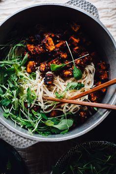 Crispy Harissa Tofu with Sesame Noodles vegan gluten free recipe