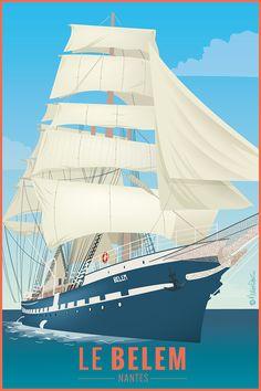 Paris Illustration, Travel Illustration, Le Belem, Tourism Poster, Ville France, City Art, Vintage Travel Posters, Brittany, Surfing