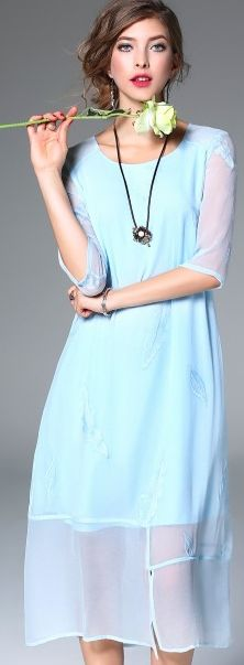 Blue Silk Half Sleeve Slit Sheer Hem A-line Midi Dress