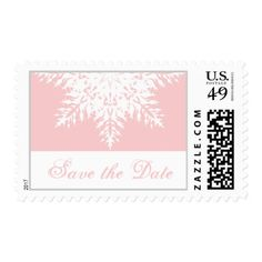 Snowflake pink winter wedding Save the Date Postage