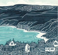 'Robin Hood's Bay', Yorkshire. Limited edition linocut print. My linocut prints are inspired by nature; my love of gardening and the great British countryside. I love exploring the countryside by bike or on foot, camera in hand, capturing ideas for my next prints. www.michellehughes.co.uk