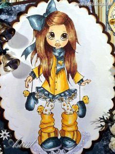Saturated Canary digi Nikki, Coloured with copic Markers: Hair:E57, E55, E53 and E50 Skin: E11, E00, E000, E95 Clothes: BG78, BG75, BG72, BG70, YR24, YR21, YR31, YR30 touches of gold liquid pearl on her legs..