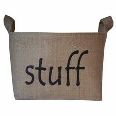 "Bring rustic-chic style to your mudroom or foyer with this charming burlap and canvas storage bin. Showcasing a natural hue and whimsical typography, it's perfect for artfully stowing newspapers and magazines or hats and gloves.    Product: Storage binConstruction Material: Burlap and canvasColor: NaturalFeatures: Two handlesDimensions: 7.5"" H x 9.5"" W x 7.5"" D"
