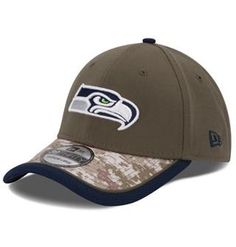 3e31cf77724 Mens Seattle Seahawks New Era Olive Camo 2014 Salute to Service On Field  Flex Hat