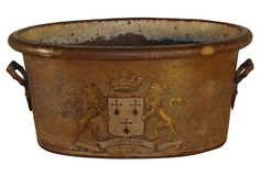 """19th-C. Champagne Bucket -""""19th-century French champagne grape bucket. Tin is old and has traces of the original paint. The crest decoration has been recently painted in Europe."""""""