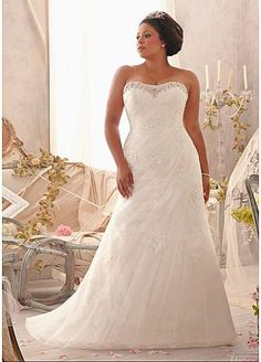 Charming Tulle & Satin Sweetheart Neckline Natural Waistline A-line Plus Size Wedding Dress