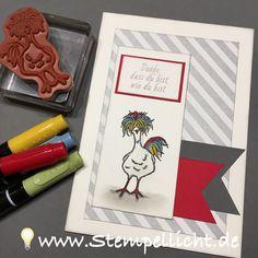 Verrücktes Huhn Stampin´Up Set SAB Das Gelbe vom Ei mit Designerpapier und Spruch aus SAB Set Gartengrüße