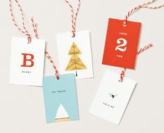 A set of 12 gift tags given to customers.  art direction: Carolyn Keer