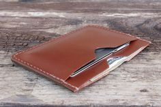 $48 Medium brown bridle leather flat wallet. Made in the USA from USA tanned…
