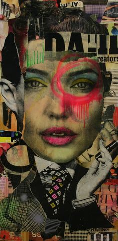 This image goes really well with our current self portrait project. It easily incorporates many different aspects of a person in what appear to be newspaper clippings. I appreciate the vintage style of the piece. I also like the fact that it was able to combine so many different fragments in a way that makes them seem related. -Chy .Collage art. Paper art.