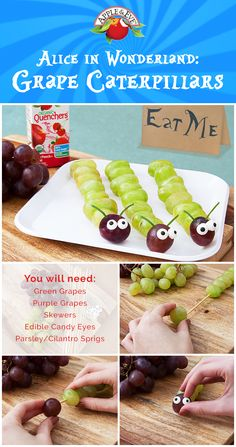 Host the perfect Alice in Wonderland theme party with these tasty caterpillar snacks! Make yours with red or green grapes.