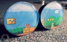 Mario platform plugs old school Super Nintendo vintage 90's Super Mario Bros. Gamer (1 pair - 2 double flare plugs) by FullCirclePlugs on Etsy https://www.etsy.com/listing/206790575/mario-platform-plugs-old-school-super