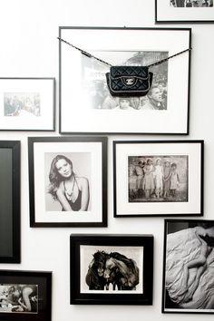Black and white photos, little black bag.