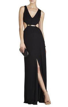BCBG Valentina V-Neck Cutout-Waist Long Gown