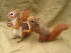 Needle felted Red Squirrels fighting over an acorn by ~HStiLeS on deviantART