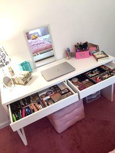 Makeup, girls heaven, dream, collection, makeup addict, ikea micke desk, vanity, dream, girly, makeup organization