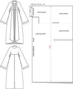 Oversized zero waste coat along with the zero waste pattern. Informations About Abrigo oversized zer Coat Patterns, Dress Sewing Patterns, Sewing Patterns Free, Clothing Patterns, Skirt Patterns, Blouse Patterns, Diy Clothing, Sewing Clothes, Sewing Coat
