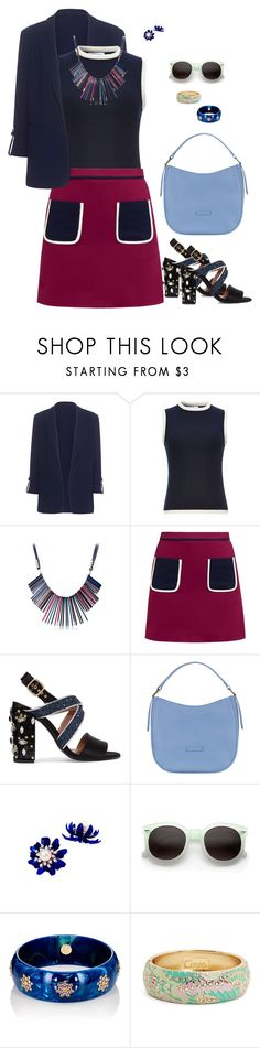 """""""Navy + Fuccia."""" by srtagraham ❤ liked on Polyvore featuring Pinko, Thom Browne, Ted Baker, Marni, ZeroUV, Mark Davis and Sequin"""