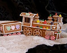 painted gingerbread train | Faux Gingerbread House in the Victorian style by janiechampagnie