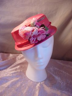 Vintage Ladies Hat PINK with Roses Flowers  21 inch band #Church Seller florasgarden on ebay
