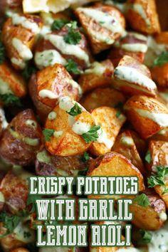 Crispy potatoes with lemon garlic aioli