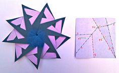 Hans-Werner Guth another 9 pointed star & CP - another kind of duocolor paper  added some helpfully(?) information to the CP, P=Pinchmark - and follow the numbers ...