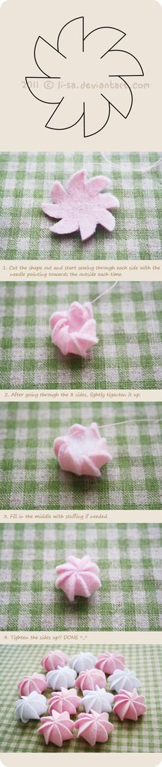 Felt cake tutorial- cream by ~li-sa on deviantART. Really clear, quick tutorial for making tiny cakes. They look more like little meringue cookies to me. Felt Diy, Felt Crafts, Fabric Crafts, Sewing Crafts, Sewing Projects, Flower Crafts, Diy Flowers, Fabric Flowers, Paper Flowers