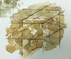 Иллюстратор мрамор материал акварель.