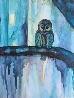Owl at Night Alcohol Ink on 11 x 14 Yupo by HeidiStavingaStudio