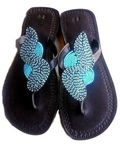 Beautiful Handmade Maasai Leather and Bead Sandals