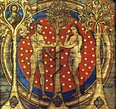 Painted wooden ceiling with brass bosses,  St. Michael's Church, Hildesheim Germany 1192 AD  Adam & Eve, Trees and Serpent with Amanita muscaria cap background,  note that Adam & Eve are each holding a button stage Amanita muscaria.