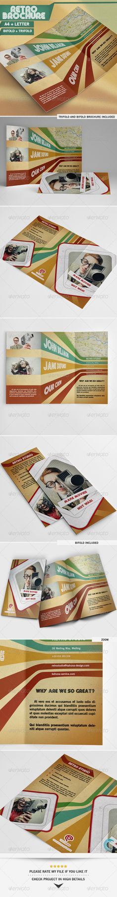 Retro Brochure by Kahuna_Design Retro PSD Letter,Bifold Trifold, CMYK Print Ready, Features:Perfect for any creative kind of busi Travel Brochure, Brochure Design, Brochure Ideas, Photography Brochure, Retro Graphic Design, All Fonts, Print Templates, Design Inspiration, Design Ideas