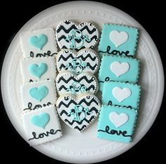 Custom Chevron Monogrammed Hearts and Love Square decorated cookies by peapodscookies