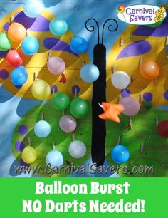 No DARTS Needed - Check out this spring carnival game - Butterfly Balloon Burst!