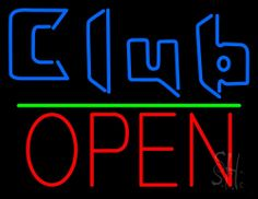 Blue Club Open Neon Sign 24 Tall x 31 Wide x 3 Deep, is 100% Handcrafted with Real Glass Tube Neon Sign. !!! Made in USA !!!  Colors on the sign are Blue, Green and Red. Blue Club Open Neon Sign is high impact, eye catching, real glass tube neon sign. This characteristic glow can attract customers like nothing else, virtually burning your identity into the minds of potential and future customers. Blue Club Open Neon Sign can be left on 24 hours a day, seven days a week, 365 days a year...