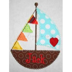 Sailboat...love this for a little boy. Could do in pinks for a girl.
