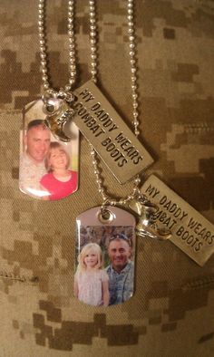 """My Daddy Wears Combat Boots Dog Tag ~ Pre-deployment gift from Daddy to his daughter. ~ Air Force ~ Army ~ Navy ~ Marines""  Great gift idea for Dad to present to his little girl before leaving. - MilitaryAvenue.com"