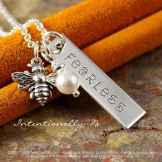 Hand Stamped Jewelry Personalized Vertical by IntentionallyMe, $40.00