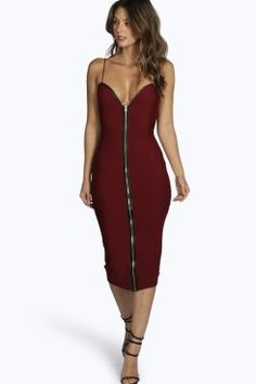 Karina Bandage Zip Through Midi Bodycon Dress at boohoo.com