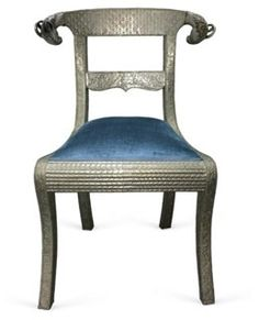 "Anglo-Indian Ram's Head Chair Anglo-Indian chair side chair. Repoussé silver over wood with detailed ram's head finals. Curved back rail design. Newly upholstered in blue silk/velvet fabric. Seat is 18""H. As described by Bea Hive Vintage"