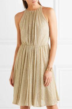 Halston Heritage - Metallic Lurex Mini Dress - Gold