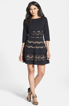 ERIN erin fetherston 'Millie' Lace Inset Ponte Fit & Flare Dress available at #Nordstrom