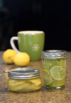 Lime or Lemon Ginger Honey in a jar -- ready to add to a cup of hot water for a soothing tea.